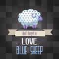 Poster with sheep and message don t forget to love blue illustration Stock Image