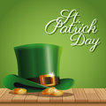 Poster st patrick day gold coins hat on wooden green background