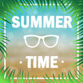 Poster summer time decorated with palm branches on the background of the beach and sea. Vector Royalty Free Stock Photo