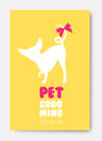 Poster template with dog silhouette. Pet grooming logo. Dog hair