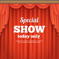 Poster with theater stage and red curtain. Cartoon style illustration Royalty Free Stock Photo