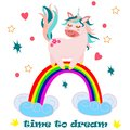 Poster with unicorn on a rainbow - vector, illustration, eps