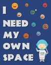 Poster vector illustrations of an astronaut and the planets of the Solar System, with a funny wordplay