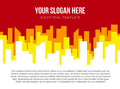 Poster vector template with red and orange city skyline Royalty Free Stock Photo