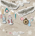 Poster with vintage christmas decorations vector illustration eps Royalty Free Stock Photos