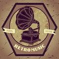 Poster with vintage gramophone. Retro hand drawn vector illustration label retro music
