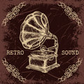 Poster with vintage gramophone. Retro hand drawn vector illustration label retro sound in sketch style