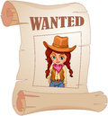 A poster of a wanted cowgirl illustration on white background Royalty Free Stock Photo