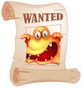 A poster with a wanted monster illustration of on white background Stock Photo