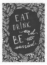 Poster wedding lettering Eat drink and be married
