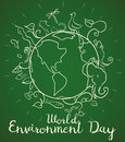 Poster for World Environment Day with Animals in Doodle Style, Vector Illustration
