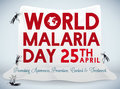 Poster for World Malaria Day Celebration with Mosquito Net, Vector Illustration Royalty Free Stock Photo