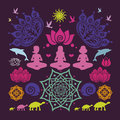 Poster yoga poses floral mandalas lotuses animals many details Royalty Free Stock Images