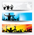 Posters of dancing girls and boys set Royalty Free Stock Image
