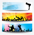 Posters of dancing girls and boys set Stock Image