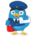 Postman blue bird clipart picture of a cartoon character Stock Photo