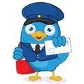 Cartero azul pájaro