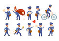Postman Characters with Bags and on Bike Set. Royalty Free Stock Photo