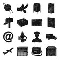 Postman, envelope, mail box and other attributes of postal service.Mail and postman set collection icons in black style