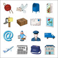 Postman, envelope, mail box and other attributes of postal service.Mail and postman set collection icons in cartoon