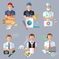 Postman plumber doctor journalist collection professions Royalty Free Stock Photo