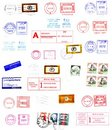 Postmarks, labels, post stamps Royalty Free Stock Photo