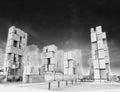 Postmodern skyscraper city as black and white wallpaper Stock Photos