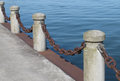Posts and chain on a pier