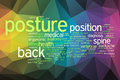 Posture concept word cloud on a low poly background with polygons Royalty Free Stock Image