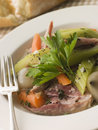Pot au Feu with Crusty Bread Royalty Free Stock Photo