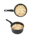 Pot filled with the popcorn isolated Royalty Free Stock Photo