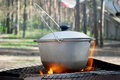 Pot on the fire a of soup in coniferous forest Stock Images