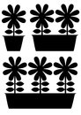 Pot of flowers icons isolated on white background Stock Photos