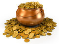 Pot full of golden coins Stock Photography