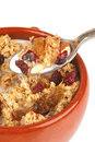 Pot full of granola with nuts Royalty Free Stock Photo