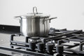 Pot on a gas stove Royalty Free Stock Photo
