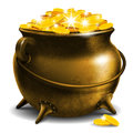 Pot with gold coin old Stock Images