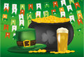 Pot of gold coins against the background of green flags. Hat and beer