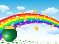Pot of gold coins and rainbow on the sky background for st patrick day Stock Photos