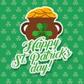 Pot of gold coins st patricks day card clovers background