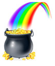 Pot of gold at the end of the rainbow illustration cauldron or a black full coins a concept Stock Photography