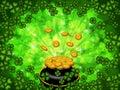 Pot of Gold on Four Leaf Clover Background