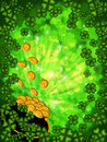 Pot of Gold Four Leaf Clover Background Vertical Royalty Free Stock Photo
