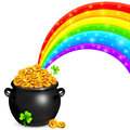Pot of gold with magic rainbow and clovers Royalty Free Stock Photos