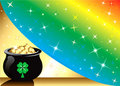 Pot Gold Rainbow Background Stock Photo