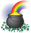 Pot of gold with rainbow on white backdrop Royalty Free Stock Photo