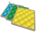 Pot holder set a of three heat resistant pads for the kitchen vector illustration Royalty Free Stock Image