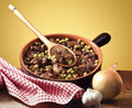 Pot of meat and peas Royalty Free Stock Photo