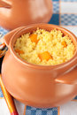 Pot of millet porridge with pumpkin two pots piece Stock Images