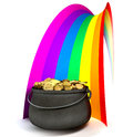 Pot O' Gold At The End Of A Rainbow Royalty Free Stock Image